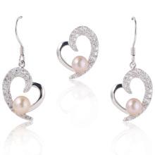 Perles Bijoux, Perles blanches Bijoux coeur, Boucles d'oreilles perles, Pendentif perle (WSHWV02276E)