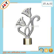 Antikes Messing doppelte flexible Metall Vorhang Stange Satz mit dekorierenden Blumen Vorhang Finials