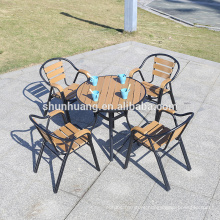 New fashion cheap outdoor plastic wood furniture aluminum frame pool furniture wooden garden set
