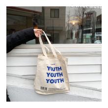 Wholesale customized classic blue letter large capacity cotton bag canvas shopping bag