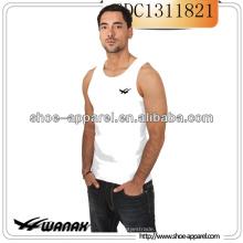 Camisa sem mangas T dos homens da planície do OEM / camisola de alças branca
