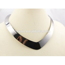 Shiny 316L stainless steel silver Punk heart torques necklace for women