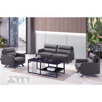 Büro-Sofa-Set aus schwarzem Leder