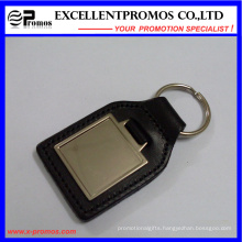 High Quality Simple Elongated Black Leather Metal Keychain (EP-K573024)