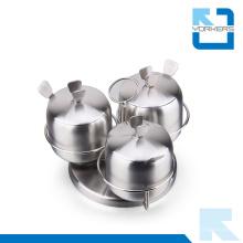 3 pièces en acier inoxydable en acier inoxydable Ensemble de pots de sel et de poivre