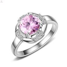 Мода Из Нержавеющей Стали Большой Розовый Бриллиант Камень Инкрустация Женские Кольца