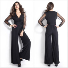 Sexy Womens Black Long Pants and Long Mesh Sleeves Jumpsuit