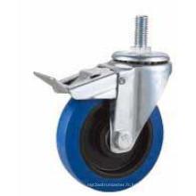 Bolt Hole Swivel Type Roulette industrielle en caoutchouc bleu (KXX5-D)