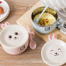 Stainless Steel Double-layer Ramen Noodles Bowl Anti-scalding Instant Noodle Bowl Cute Bunny with Lid And Spoon Tableware random