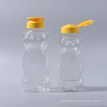 480g / 350ml plástico Pet Bear forma garrafas de geléia de mel Garrafa Garrafa Ketchup garrafa de maionese com tampas de válvula de silicone (EF-H03480)