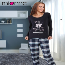 MIORRE OEM WOMEN'S NEW 2017 COLLECTION LONG SLEEVEE PATTERNED TOP & PLAID PATTERNED BOTTOM SLEEPWEAR PAJAMAS SET