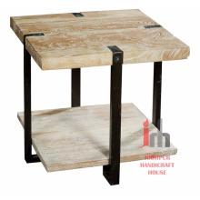 Table basse carrée carrée en bois massif en métal industriel