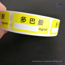 Pegatina de medicamentos impresos a color con etiqueta de pesticida para instrumentos médicos