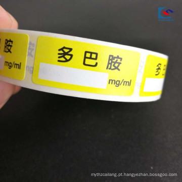 A cor imprimiu a etiqueta das drogas da etiqueta do inseticida para instrumentos médicos