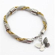 Bracelet Rose Gold & Silver en acier inoxydable avec charme papillon