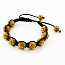Bracelete de algodão preto com pulseira de pérolas de pedra natural