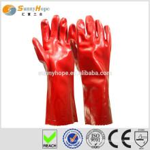 Luvas de algodão revestidas com pvc vermelho Sunnyhope