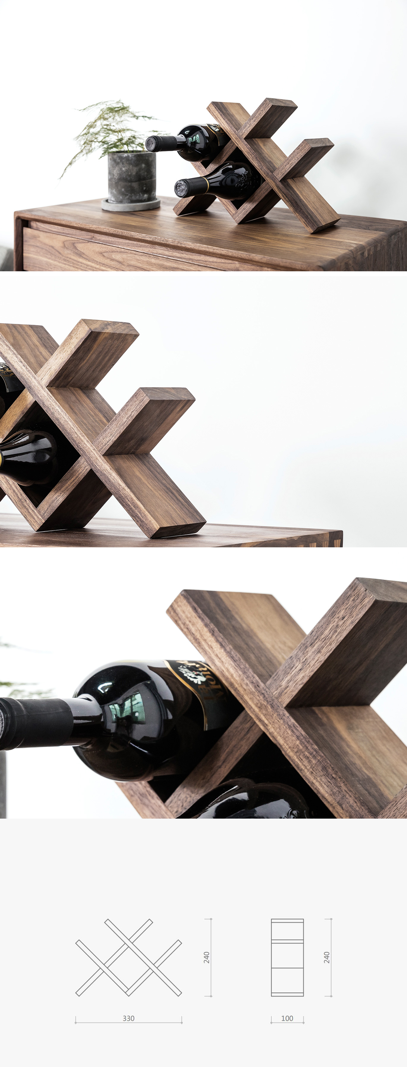 Wooden Counter Wine Rack
