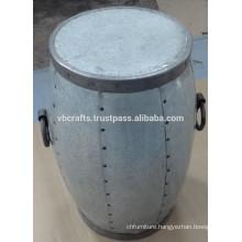 Metal Round Drum Shape Industrial Stool