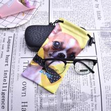 Sola bolsa de gafas de sol de microfibra negra con cordón