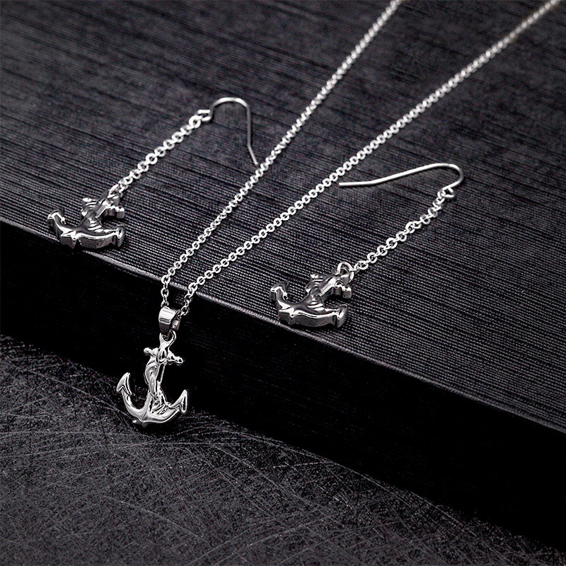 Gold Plated Stainless Steel Anchor Jewelry Set