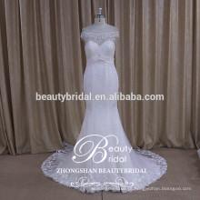 Costurar em contas de cristal vestido de noiva de marfim romântico e vestido de casamento rayal com imagens reais de sereia