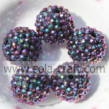 Resin Rhinestone Ball Beads 18*20MM Purple Multicolor Solid Beads For Wholesale