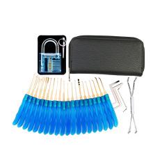 Blue Transparent Padlock with 24PCS Blue Handle Titanized Lockpicking Tools (Combo 4)