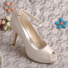 Peep+Toe+Ankle+Strap+Ivory+Shoes+for+Bridesmaids