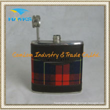 6oz Stainless Steel Leather Hip Flask for Promotion