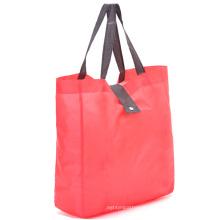 Reusable polyester folding promo shopper tote bags