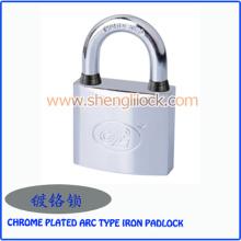 Factory Wholesale Waterproof Chrome Plated Arc Type Iron Padlock