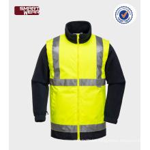 Mens high visibility detachable sleeves hi vis 3m safety jacket with EN20471