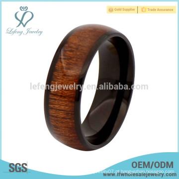 Nova chegada de titânio preta e anéis de madeira para homens, anéis de inlay de madeira para homens