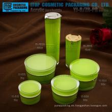 Especial recomienda venta caliente clásica forma cónica doble redondo capas botella de acrílico loción y cremas de cosmética Tarro empaquetado