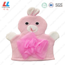 Pink rabbit animal bath gloves