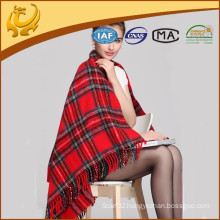 Chinese Factory Acrylic Woven Wholesale Scottish Knee Blanket With Tassel