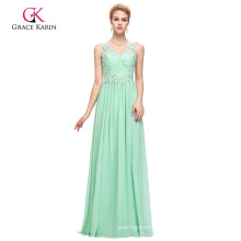 Grace Karin Sleeveless V-Neck Backless Chiffon Aquamarine Prom Dress GK000091-1