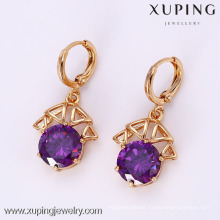 25574 Xuping Fashion Crystal Gemstone Earring, 18K Gold Plated Earring