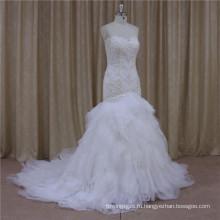Реальный Образец Милая Русалка Органзы Бисером Свадебное Платье