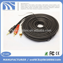 Kuyia 3.5mm Male to 2RCA CABLE Câble audio 5M