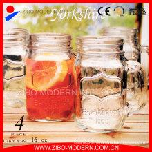 Питьевой Mason Jar Логотип Дешевые стеклянные банки Mason со стеблем