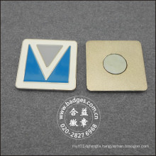 Square Business Badge, Metal Silver Plated Pin (GZHY-BADGE-027)