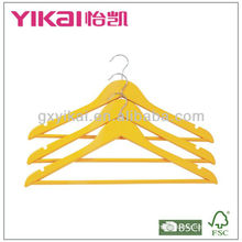 Lemon color wooden shirt hanger with round bar and U notches