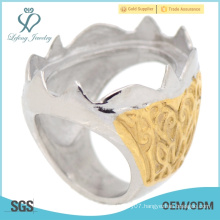 Cool yellow gold stainless steel engraved picture indonesia rings top sale