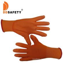 13 Gauge Orange Nylon Liner Knit Wrist Orange PU Coated Palm Gloves