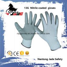 13G Polyester Palm Gary Nitril Glattbeschichteter Handschuh En 388 3121