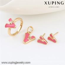 64033 Xuping al por mayor 2 gramos de joyas de oro pesado chapado en oro diseños dulhan establece