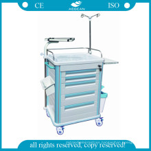 AG-Et005b1 Medical Mobile ABS Material Hospital Trolley with Five Drawers