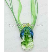 Precio bajo Lampwork Cristal Colgante Colgante Lampwork vidrio Collar vidrio Bulb Lámpara colgante con cordón de cera